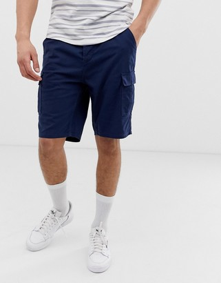 ONLY & SONS drawstring ripstop cargo shorts in navy