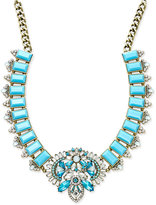 ABS by Allen Schwartz Gold-Tone Blue Stone and Crystal Statement Necklace