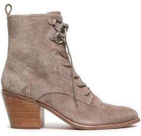 Diane von Furstenberg Lace-up Embroidered Suede Ankle Boots