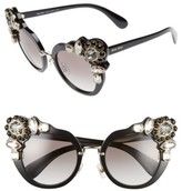 Miu Miu Women's 52Mm Cat Eye Sunglasses - Black