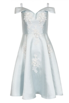 Quiz Blue And Cream Satin Flower Embellished Bardot Dress