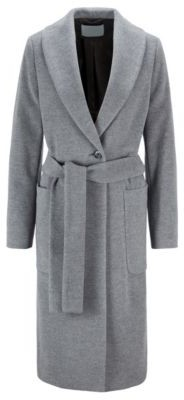 HUGO BOSS Relaxed Fit Coat In A Brushed Virgin Wool Blend - Grey