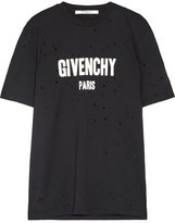 Givenchy Distressed Printed Cotton-jersey T-shirt - Black