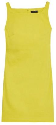 Theory Squareneck Linen Blend Mini Dress