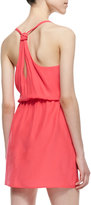 Amanda Uprichard V-Neck Knotted Strap Dress, Electric Rouge