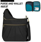 Travelon Anti-Theft Signature 3 Compartment Crossbody Shoulder Bag with Wallet (Updated)
