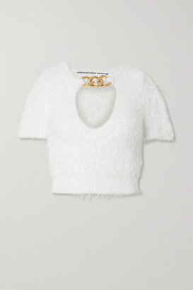 Alexander Wang Chain-embellished Cropped Knitted Sweater - White