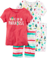 Carter's 4-Pc. Woke Up In Paradise Cotton Pajama Set, Little Girl (2-6x) & Big Girls (7-16)