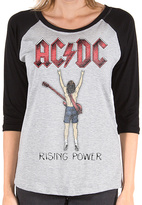 Goodie Two Sleeves Gray AC/DC Rising Power Fingers Tee - Women