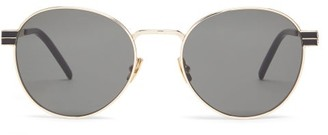 Saint Laurent Round Metal Sunglasses - Womens - Grey Gold