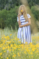 Shabby Apple KAI Striped Dress Blue & White