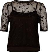 River Island Womens Black star mesh T-shirt