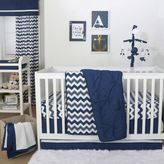 The Peanut Shell Pintucked Crib Bedding Collection in Navy