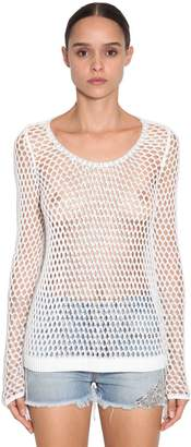 Ermanno Scervino Crystal Embellished Open Knit Top
