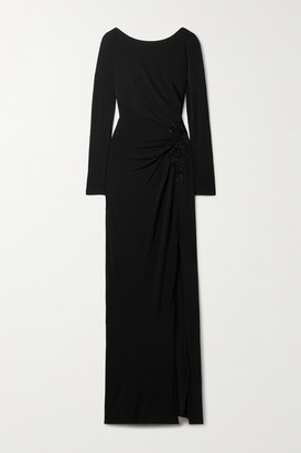 Marchesa Notte Bead-embellished Appliqued Ruched Stretch-jersey Gown - Black