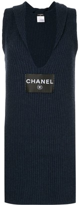 Chanel Pre Owned logo knitted fitted dress