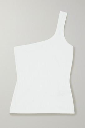 Ninety Percent One-shoulder Ribbed Stretch Organic Cotton Tank - White