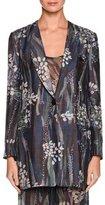 Giorgio Armani Floral One-Button Silk Jacket, Multi