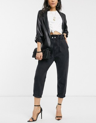 Stradivarius baggy jeans with elasticated waist in black