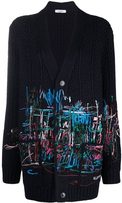 Valentino Embroidered Oversize Wool Cardigan