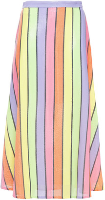 Olivia Rubin Penelope Sequined Striped Georgette Midi Skirt
