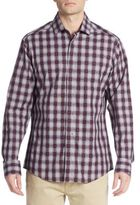Vince Camuto Regular-Fit Grid Check Cotton Sportshirt