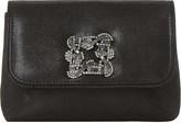 Dune Beston brooch-embellished suede clutch bag