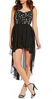 Honey and Rosie Sequin Embellished Bodice High-Low Dress