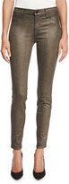 J Brand Jeans Cosmos Metallic Mid-Rise Super Skinny Jeans, Bronze