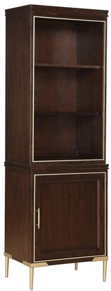 Overstock Wood and Metal Cabinet with Display and Storage Space, Gold and Brown