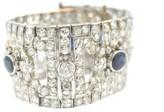 Platinum Blue Sapphire and Diamond Large Bracelet