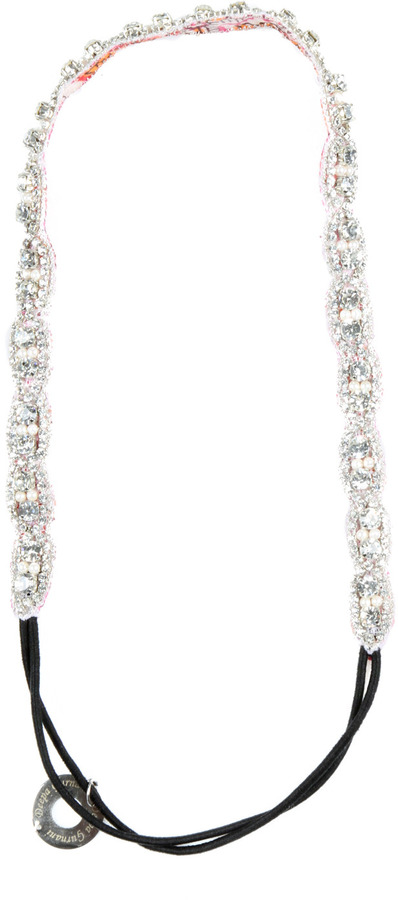 Deepa Gurnani Silver Beaded Headband