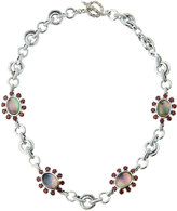 Stephen Dweck Verona Mother-of-Pearl Doublet & Garnet Floral Station Necklace