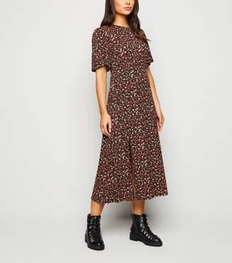 New Look Petite Floral Jersey Side Split Midi Dress