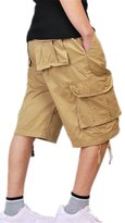 Congs Men's Casual Cotton Multi-Pocket Work Cargo Shorts-Tag 32/US 30