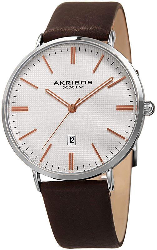 Akribos XXIV Mens Black Strap Watch-A-935ssrg