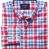 Charles Tyrwhitt Classic fit button-down poplin sky blue and red check shirt
