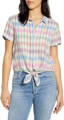 Lucky Brand Tie Front Short Sleeve Linen Blend Shirt