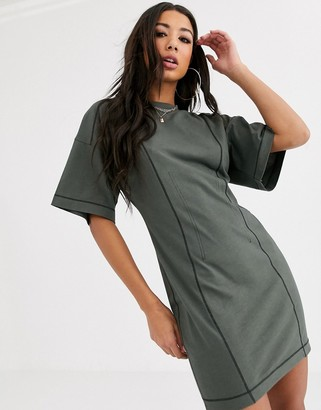 Asos Design DESIGN corset stitch t shirt dress-Green
