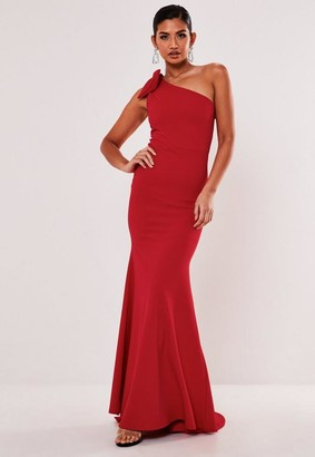 Missguided Red One Shoulder Bow Maxi Dress