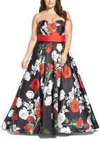 Mac Duggal Plus Size Women's Rose Print Ballgown
