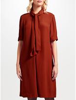 John Lewis Libby Tie Neck Dress, Deep Orange