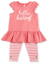 Kate Spade Cap-Sleeve Hello Darling Tee W/ Striped Leggings, Pink, Size 12-24 Months