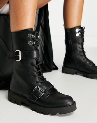 Schuh Athens lace-up calf boot with buckles in black