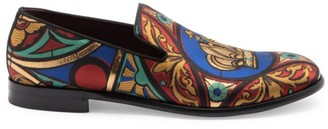 Dolce & Gabbana King Crown Embroidery Smoking Loafers