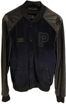 Philipp Plein Navy Leather Jackets