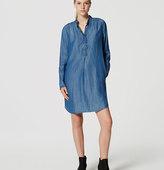 LOFT Chambray Ruffle Shirtdress