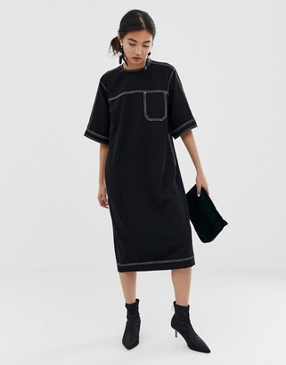 ASOS contrast stitch dress
