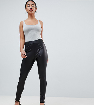Asos DESIGN Petite leather look leggings with elastic slim waist-Black
