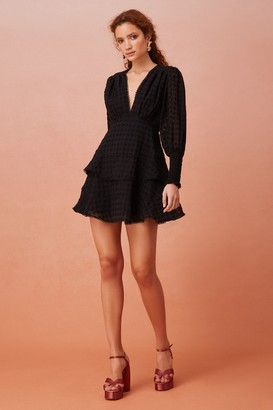 Keepsake BIG LOVE LONG SLEEVE MINI DRESS Black